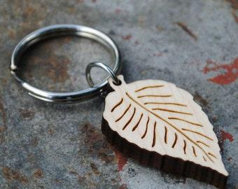 Birch Leaf Wooden Keychain Autumn Accessory Gifts under 25 Fall Fashion