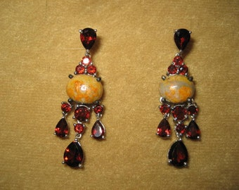 Sterling Garnet Unakite Dangle Earrings Pierced Vintage