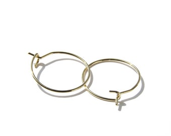 Tiny gold hoops, gold earrings, hoop earrings, wire hoop earrings