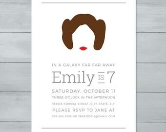 Invitación fiesta de cumpleaños de princesa Leia Star Wars    Invitación de princesa Leia Star Wars    Invitación de Star Wars    Invitación de Star Wars