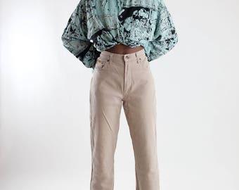 Vintage 90s beige jeans / Baggy jeans / Vintage cream mom jeans / Highwaist trousers / Nineties jeans / Vintage denim / Size S/36