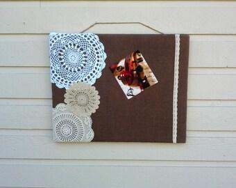 Dorm room decor, Pin Board, Country Chic Burlap and vintage doily Bulletin Board, Photo Memory Pin Board,  Vision or Memo Board, girls room