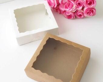 120x Cookie Boxes 10x10x3 cm - Macaron Boxes - Favour Gift Box - Wedding - Baby Shower Favour - Bridesmaid Gift Box
