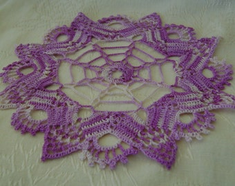 Crocheted Purple Variegated Doily Made From Vintage Pattern & Thread