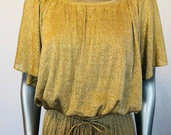 1970s Dress / Goddess Dress / Gold Grecian Dress / Vintage
