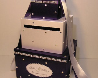 Wedding Card Box Purple and White  Sweet 16 Gift Card Box Money Box  Holder  --Customize your color