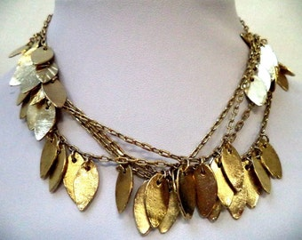 Super long 60 Inch Goldtone Embossed Leaf Necklace
