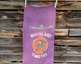 Vintage Northrup King Timothy Seed Sack, Vintage Linen Sack, Purple Northland Timothy Seed Bag