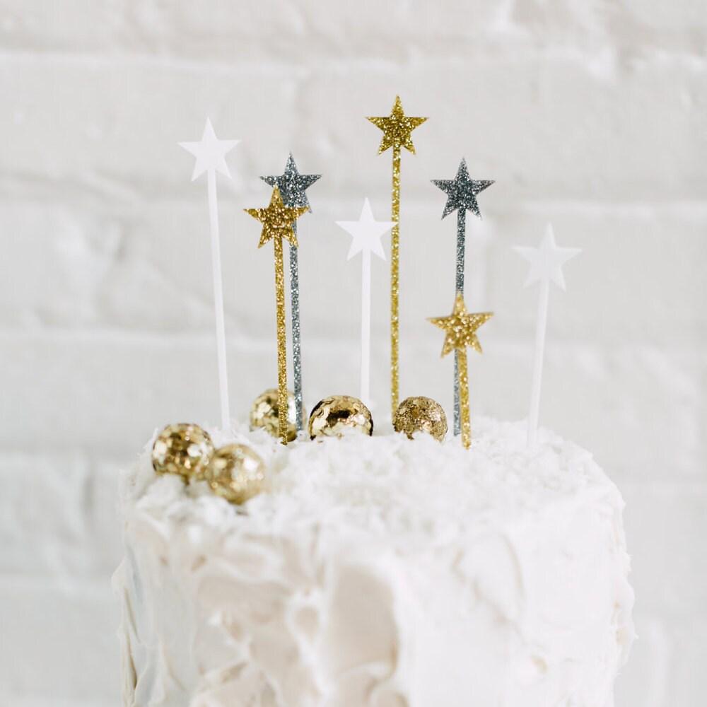 8 CT. Twinkling Star Cake Picks, Drink Stirrers, Swizzle Sticks ...