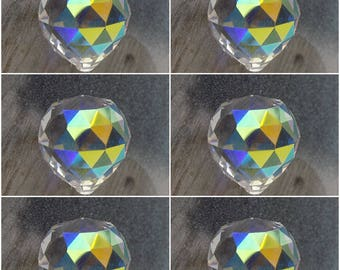 6 (six) Asfour AB German Crystal 30mm prism balls with flashy Aurora Borealis finish, Feng Shui, Suncatchers, Dangles, Ornaments