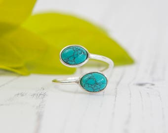 Open Adjustable Sterling Silver Ring with two Turquoise Gems - Handmade Ring