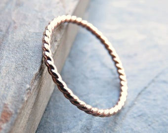 Tiny Rose Gold Twist Band - Solid 14k Gold Eternity Ring - Thin Wedding Band, Anniversary Ring, Promise Ring, or Stacking Ring