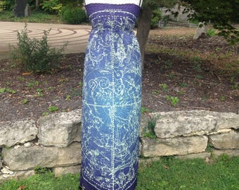 Star Chart Constellation Map of the Heavens Long Maxi Blue and Turquoise Dress
