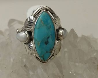 Blue Turquoise and Pearl Ring Size 6 1/2