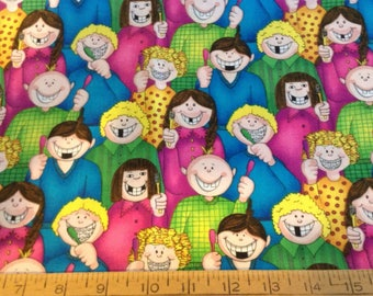 44 inches of dentall checkup theme cotton fabric
