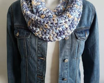 Crochet Infinity scarf, loop scarf, circle scarf, blue scarf, vegan scarf, chunky scarf, statement scarf