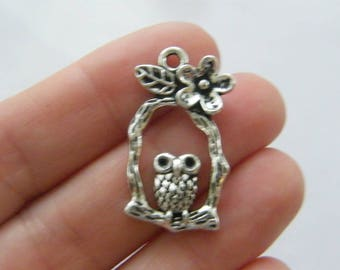 6 Owl charms antique silver tone B255