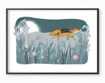 Fox Badger illustration giclee art print - Many sizes available A3 / A4 / A5 / 8 x 10 bluebells bluebell wood