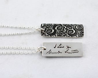 Actual Writing Signature on a Silver Pendant - Signature Necklace - Memorial Jewelry for Men and Women - Handwriting Jewelry
