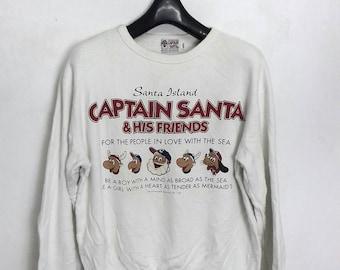 vintage CAPTAIN SANTA sweatshirt crewneck jumper medium size