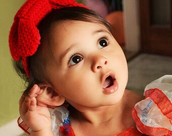 12 to 24m Red Baby Headband Red Headband Crochet Bow Headband - Girl Headband Baby Headband Toddler Headband Photo Prop