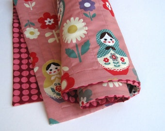 Baby QUILT / Matryoshka Dolls in Peach Coral with Organic Cotton - Modern Kids Russian Doll Blanket Bedding