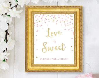 Bridal Shower Love is Sweet Favor Sign - Pink and Gold Bridal Shower Printable Signs - Wedding Favor Table Sign - Pink and Gold Hearts