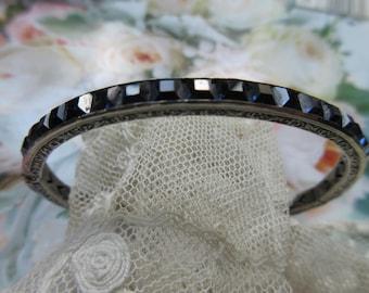 Vintage Deco 20s Sterling Channel Set Crystal Bracelet Sapphire Blue - Deco Flapper Bracelet - Sterling Stacking Bracelet - Antique Bangle
