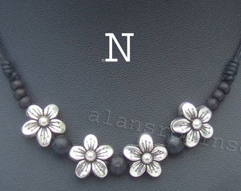 Flower charm necklace, surfer style necklace