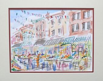 Philadelphia Italian Marker (9th and Washington) Original Watercolors painting by Joe Barker.16 x20.