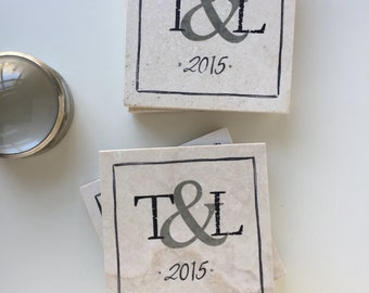 Wedding Coasters, Ampersand gift, Personalized Couple gift, Monogram Wedding Gift, Engagement Party Gift, Wedding date Gift