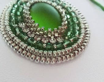 Green necklace, green pendant, beads necklace, rhinestone necklace, woman's necklace, handmade necklace, one of a kind