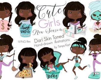 African American Clipart, Cute Girls Clipart,  Dark Skin Toned Girls, Planner Girl Clipart, Planner Girl Clipart, Planner stickers girls