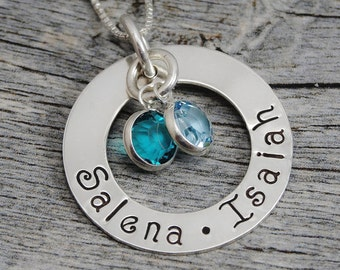 Hand Stamped Jewelry - Personalized Jewelry - Mother Necklace - Sterling Silver Necklace - Two Names Two Birthstones - Washer Pendant