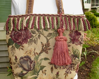 Hand sewn tote bag, tapestry bag, tapestry purse, tapestry tote, made from tapestry samples. Bullion fringe and a tassel adorn the top