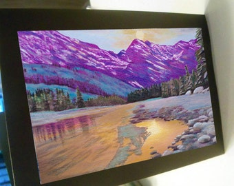 Greeting card  mountain stream golden print of original art- colorful