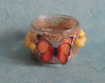 glass candle holder Butterfly shells and sand, butterfly table decoration, Center table, party table decoration