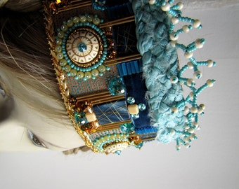 Enchanted Crown Headpiece Costume Crown Cosplay Crown Bead Embroidery Bridal Crown Queen Medieval Headpiece Latvian Crown Turquoise Gold