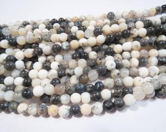 "5mm Dendrite opal Merlinite Gemstone Round beads 13"" Full Strand Semi precious stone Beads loose craft supplies Jewelry Healing crystals gem"