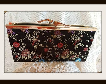 Vintage black silk with embroidered flowers ,Roses, leafs fabric silk,