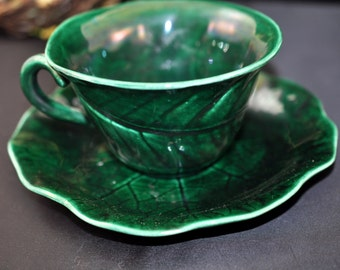 Majolica Demitasse Cup Saucer, Damaged, Beautiful green majolica pottery, vintage, saucer is damaged, #1726
