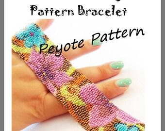 Flowers Flowers Peyote Pattern Bracelet - For Personal Use Only PDF Tutorial , delica pattern bracelet, flowers cuff tutorial miyuki beads
