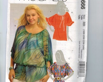 Misses Sewing Pattern McCalls M5666 M5666 Womens Tunic Tops Gathered Waist Plus Size 18W 20W 22W 24W Or 8-10-12-14-16 UNCUT