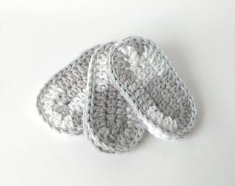 Crochet Teething Biscuit Cotton Teeth Baby Toy Natural Crochet Cotton Teether / Baby Shower Gift Stocking Stuffer / Colorway Stormy Night
