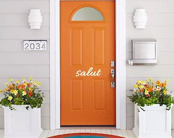 Vinyl Wall Decal Art - Salut Vinyl front door sign. Goodbye Bonjour Aloha Salut Welcome Bye See-ya