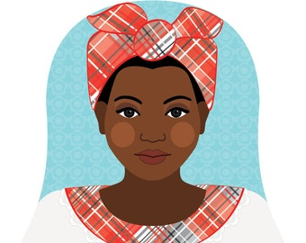 Jamaican Wall Art Print features cultural traditional dress drawn in a Russian matryoshka nesting doll shape