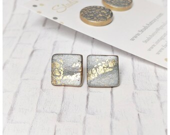 Silver and gold earrings square earrings nickel free earrings college student gift for her lightweight earrings polymer clay earrings
