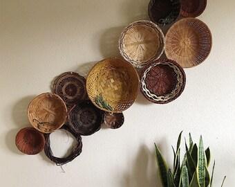 Vintage Wall Basket Set / Baskets / Basket Collection / Bohemian Decor / Wall Basket Art / Rattan / 12 pcs