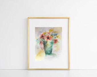 ORIGINAL Abstract Watercolor Flower Painting