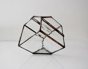 Terrarium, Cube shape plant holder, Stained Glass Planter, Geometric 3D shape.